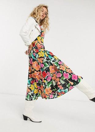 Распродажа натуральное платье topshop миди в стиле колор блок asos9 фото