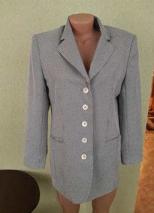 Пиджак жакет блейзер в мелкую гусиную лапку3 фото