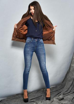 Выбеленные джинсы-скинни4 фото