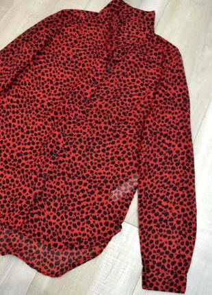 Блуза рубашка красный леопард1 фото
