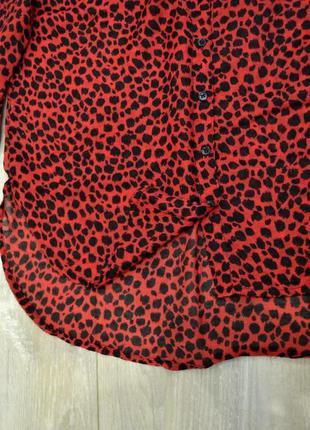 Блуза рубашка красный леопард3 фото