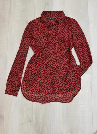 Блуза рубашка красный леопард7 фото