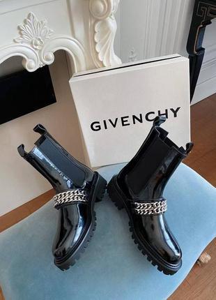 Ботинки черные кожаные лаковые  g*venchy размер 37-40 полномер1 фото