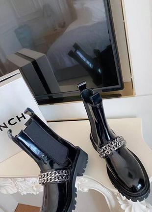 Ботинки черные кожаные лаковые  g*venchy размер 37-40 полномер3 фото