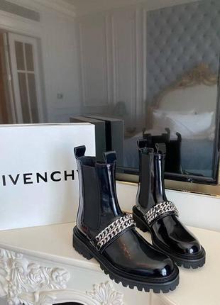 Ботинки черные кожаные лаковые  g*venchy размер 37-40 полномер2 фото