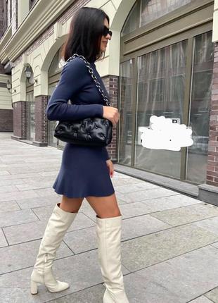 Платье вискоза трикотаж синее вязаное по фигуре zara s m l