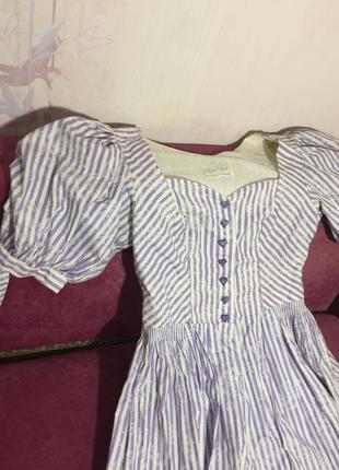 Винтажные платье с буфами сиди в полоску сердечки sportalm1 фото