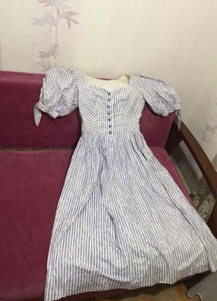 Винтажные платье с буфами сиди в полоску сердечки sportalm2 фото