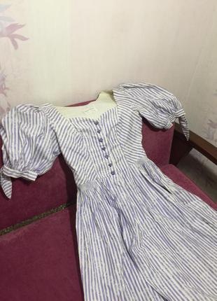 Винтажные платье с буфами сиди в полоску сердечки sportalm3 фото