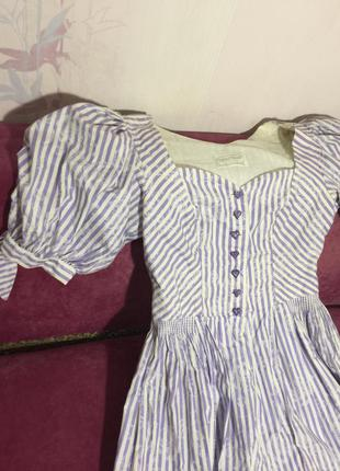 Винтажные платье с буфами сиди в полоску сердечки sportalm4 фото