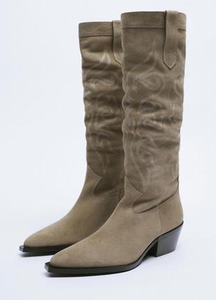 Шкіряні чоботи zara3 фото
