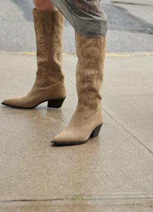 Шкіряні чоботи zara4 фото