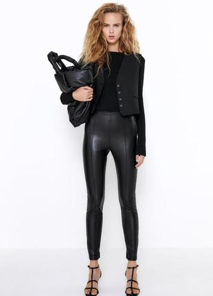 Zara штаны / брюки / леггинсы кожаные