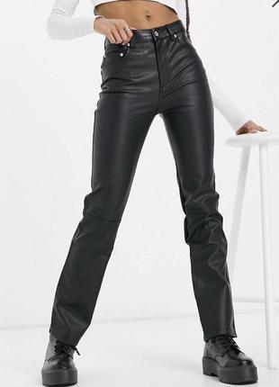 Новые прямые брюки под кожу кожаные штаны  asos zara1 фото