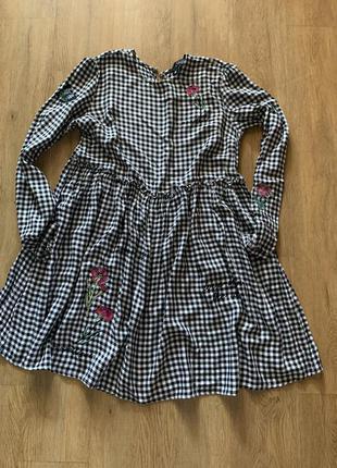 Платье в клетку м свободное2 фото