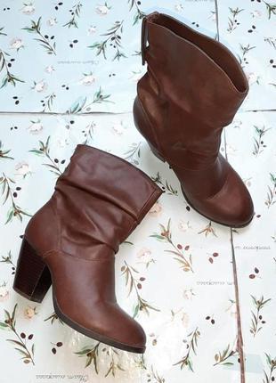 🎁1+1=3 фирменные кожаные полусапожки на среднем каблуке atmosphere демисезон, размер 381 фото