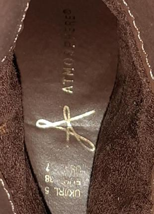 🎁1+1=3 фирменные кожаные полусапожки на среднем каблуке atmosphere демисезон, размер 384 фото