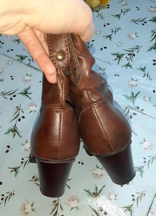 🎁1+1=3 фирменные кожаные полусапожки на среднем каблуке atmosphere демисезон, размер 386 фото