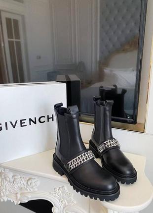 Ботинки черные кожаные  g*venchy размер 37-40 полномер