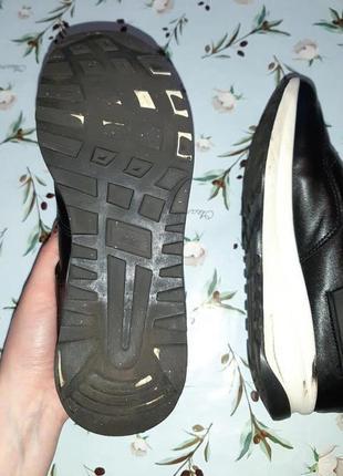🎁1+1=3 модные крутые черные кожаные кроссовки, размер 38, полномерные7 фото