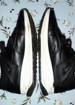 🎁1+1=3 модные крутые черные кожаные кроссовки, размер 38, полномерные2 фото