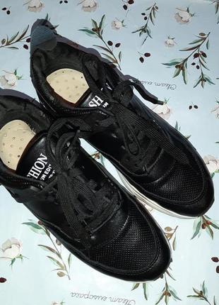 🎁1+1=3 модные крутые черные кожаные кроссовки, размер 38, полномерные3 фото