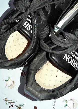 🎁1+1=3 модные крутые черные кожаные кроссовки, размер 38, полномерные5 фото