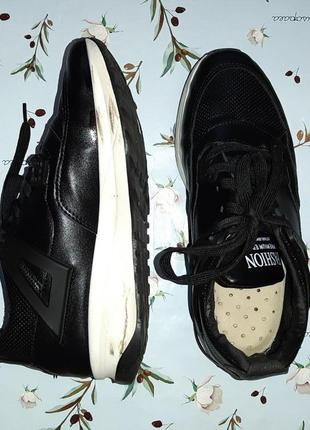 🎁1+1=3 модные крутые черные кожаные кроссовки, размер 38, полномерные4 фото