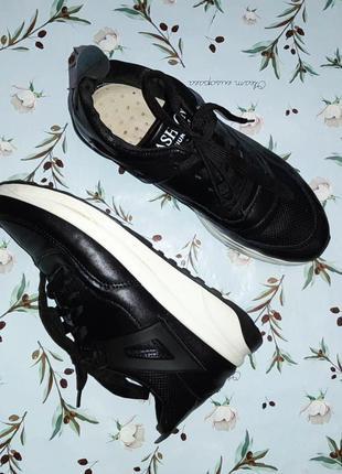 🎁1+1=3 модные крутые черные кожаные кроссовки, размер 38, полномерные1 фото