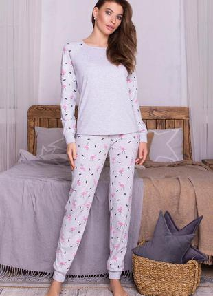 Уютный комплект пижамы с принтом фламинго