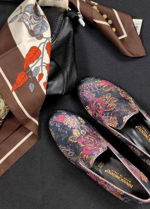 Эксклюзивные туфли rinascimento принт цветы италия натуральный бархат италия