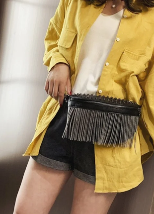 Женская кожаная черная сумка/женский черный клатч/сумочка/бананка на грудь5 фото