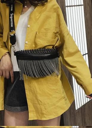Женская кожаная черная сумка/женский черный клатч/сумочка/бананка на грудь4 фото