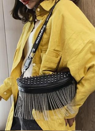 Женская кожаная черная сумка/женский черный клатч/сумочка/бананка на грудь2 фото