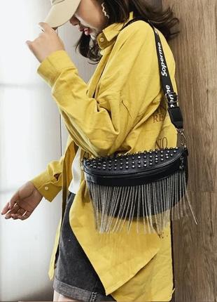 Женская кожаная черная сумка/женский черный клатч/сумочка/бананка на грудь6 фото