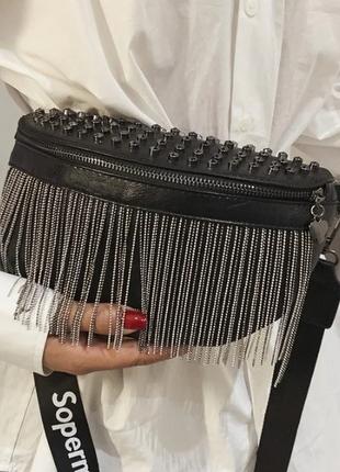 Женская кожаная черная сумка/женский черный клатч/сумочка/бананка на грудь1 фото