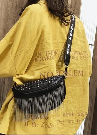 Женская кожаная черная сумка/женский черный клатч/сумочка/бананка на грудь7 фото
