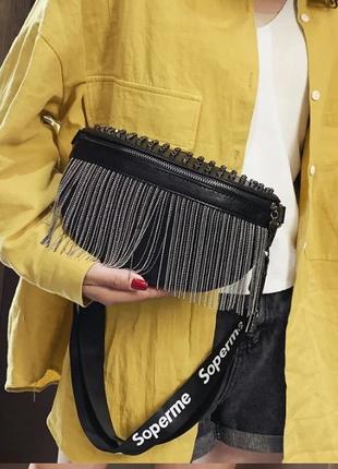 Женская кожаная черная сумка/женский черный клатч/сумочка/бананка на грудь8 фото