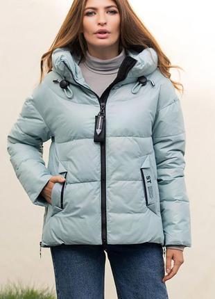 Модная стильная зимняя куртка с капюшоном тренд светло-бирюзовая био-пух новинка2 фото