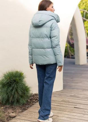 Модная стильная зимняя куртка с капюшоном тренд светло-бирюзовая био-пух новинка3 фото