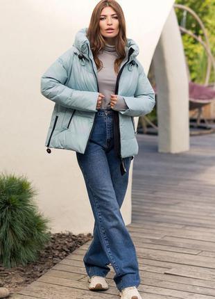 Модная стильная зимняя куртка с капюшоном тренд светло-бирюзовая био-пух новинка4 фото