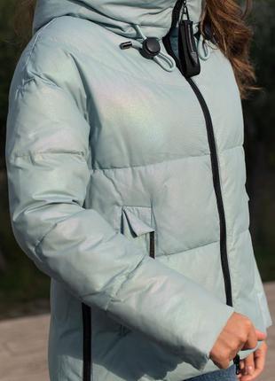 Модная стильная зимняя куртка с капюшоном тренд светло-бирюзовая био-пух новинка5 фото