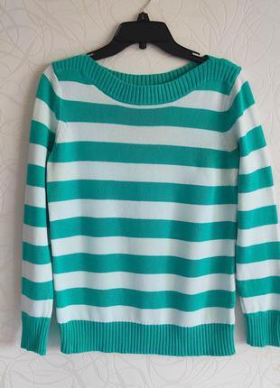 Коттоновый плотный свитер в бело-бирюзовую полоску, размер l-xl