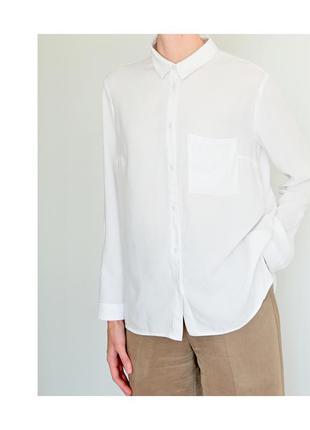 Белая женская рубашка h&m. классическая рубашка светлая. блуза hm базовая. жіноча біла сорочка7 фото
