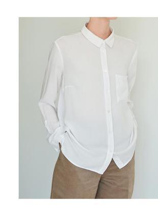 Белая женская рубашка h&m. классическая рубашка светлая. блуза hm базовая. жіноча біла сорочка1 фото