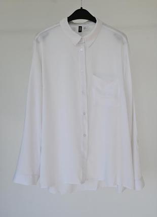Белая женская рубашка h&m. классическая рубашка светлая. блуза hm базовая. жіноча біла сорочка3 фото
