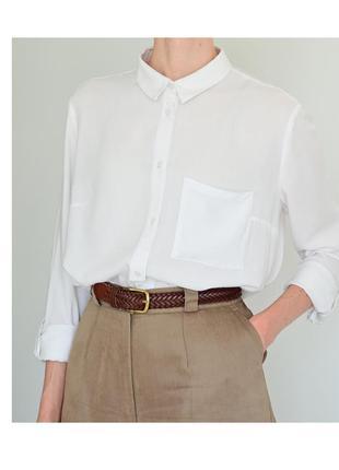 Белая женская рубашка h&m. классическая рубашка светлая. блуза hm базовая. жіноча біла сорочка4 фото