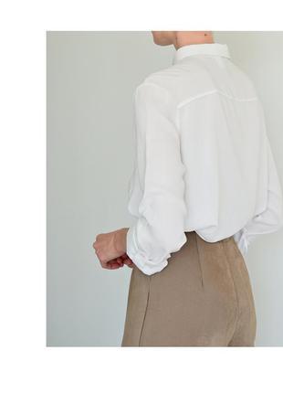 Белая женская рубашка h&m. классическая рубашка светлая. блуза hm базовая. жіноча біла сорочка6 фото