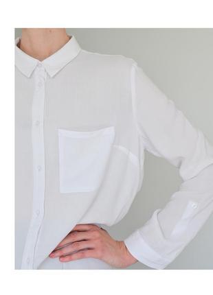 Белая женская рубашка h&m. классическая рубашка светлая. блуза hm базовая. жіноча біла сорочка2 фото