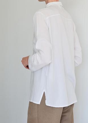 Белая женская рубашка h&m. классическая рубашка светлая. блуза hm базовая. жіноча біла сорочка8 фото